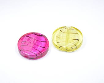 PE220 - Set of 2 flat yellow and pink glass beads