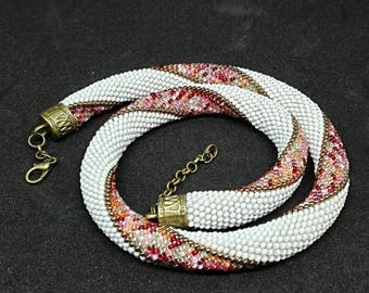 Crochet spiral seed Bead Necklace