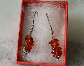 Cognac amber chips earrings