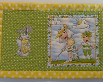 Quilted Mug Rug/Placemat - You Golf Girl!