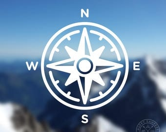 Compass Icon Vinyl Decal | Water Bottle Decal | Car Window Decal | Laptop Decal