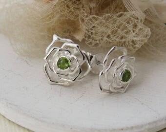 Sterling Silver Earrings, Silver Rose Design Stud Earrings, Green Peridot Earrings, Bridal Earrings, Bridesmaid Earrings, Bridesmaid Gift