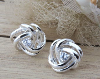 Sterling Silver Knot Earrings, Blue Topaz Crystal Knot Stud Earrings, Gift for Mothers