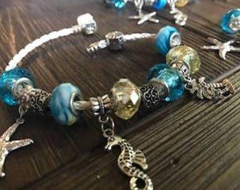 Seahorse Bracelet, womens bracelet, beaded bracelet, mothers day gift, womens jewelry, leather wrap bracelet