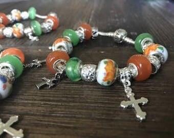 CROSS BRACELET, autumn bracelet, cross charm bracelet, religious gifts, cross gift, cross jewelry, chrisitan bracelet