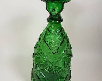 Vintage 1970s Glass Genie bottle decanter/ moulded glass figure
