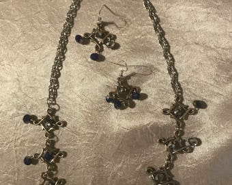 Silver and blue crystal necklace and earrings set