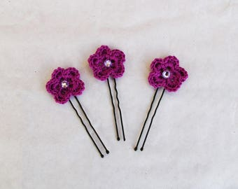 a bun (set of 3) crocheted spikes