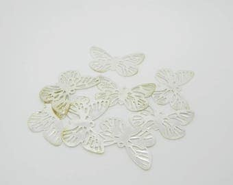 8 x 24mm (l700) Butterfly silver plated charm