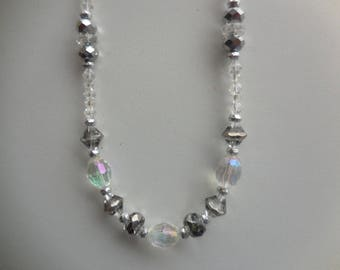 women necklace, silver and clear
