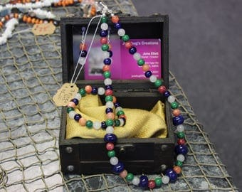 Multicolor Glass Beads set ..  Necklace, Bracelet, Earrings.  3 piece set