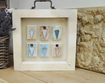 VINTAGE STYLE Heart Box Plaque, Distressed Crackle Wood, Home Decor, Shelf Sitter, Turquoise