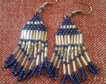 Blue native earrings.