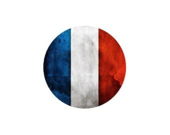 x 1 flat 25mm France flag resin cabochon