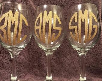 Monogramed wine glass
