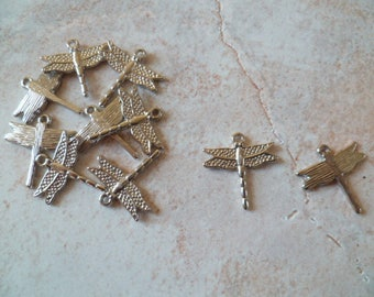 Lot 10 silver Dragonfly charms