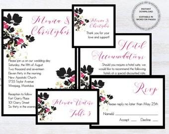 Digital invitation printable wedding invitation template mac digital wedding invitation template mac or pc floral flower wedding invitation set stopboris Choice Image