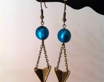 Bronze arrow earrings turquoise glass bead