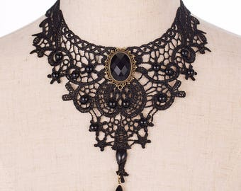 Vintage Lace Necklace Collar Choker Necklace Bib