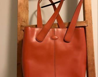 Tods Orange Leather Bag