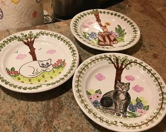 Vintage Cat plates made in Portugal hand painted and signed - 3 available, 1 in each pattern