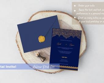 Wedding Invitation royal blue and gold, Arabic invite, Wedding invite, printable