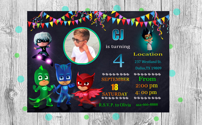Pj masks online invitation Pj masks birthday party supplies PJ masks ...