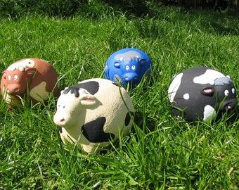 Herd of Four Fun Cows - garden ornaments - UK handcast