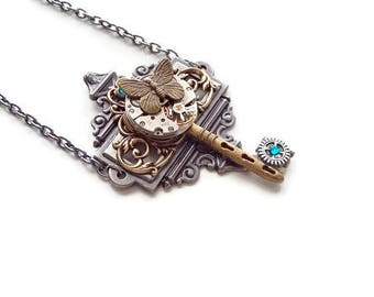 """The lone Butterfly 2"" steampunk pendant necklace"