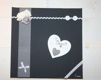 frame 3D grey charcoal and white hearts lace and roses
