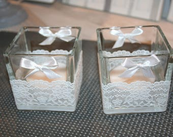 White Square candle glass shabby bows