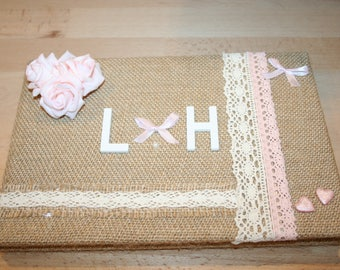 Powder Pink rustic country burlap lace and hearts Wedding guest book