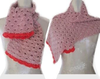 Châle, étole, châle crochet, châle laine, étole laine, écharpe, écharpe laine, rose, vieux rose, fuchsia, dentelle crochet