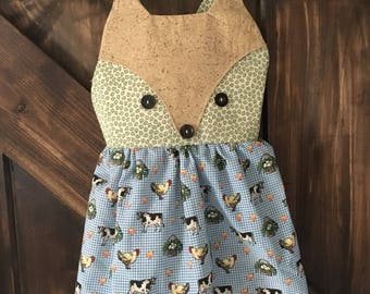Girls Farm Print Fox Dress Size 2/3