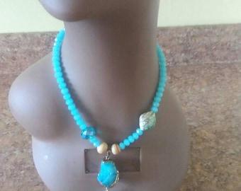 Turquoise Stone beaded necklace