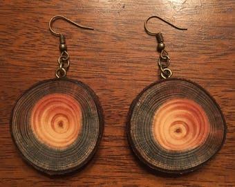 Rustic Spalted White Pine Wooden Earrings, Wood Cookie Earrings, Boho Earrings, Wood Slice Earrings