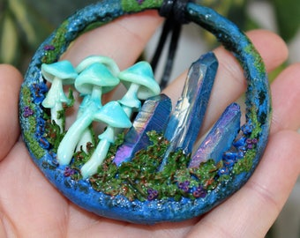 Mushrooms glows in the dark/Blue Natural Quartz Crystal/Necklace/Pendant/Handmade