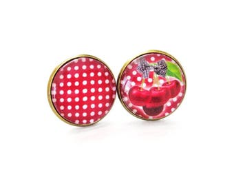 "Earrings cabochon ""p' cherry tites"""