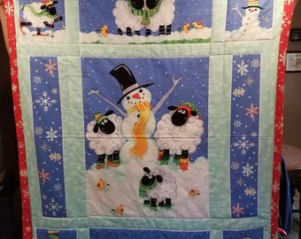 Christmas Holiday Baby Blanket, Snowman baby blanket, Christmas Decor Blanket, Baby Shower gift, Baby gift idea, Christmas Blanket quilt