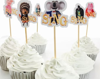 12x SING Movie Party Food Cupcake Cake Topper Pick. Party Supplies Bunting Lolly Loot Bags Banner Deco