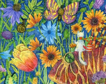 Print Journey into the magical garden. Picture for children's