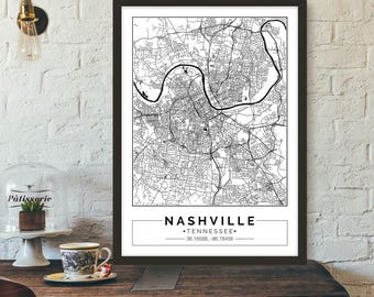 Nashville, Tennessee, City map, Poster, Printable, Print, Street map, Wall art