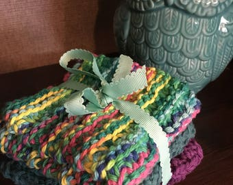 Knitted Dishcloths 100% cotton Set of 3