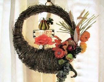 Fall cornucopia harvest wreath