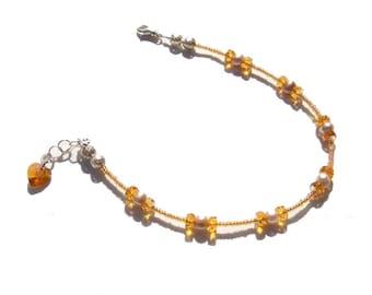 Topaz Pearl Crystal Heart Beaded Ankle Bracelet 8.5