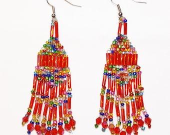 Ruby Red Multi Color Beaded Dangle Earrings
