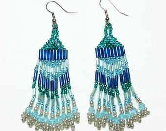 Shades of Teal Beaded Dangle Earrings