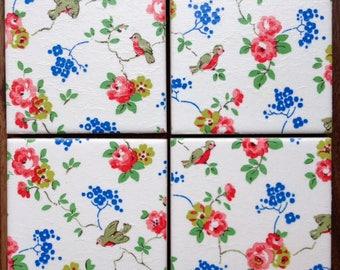 Handmade Set Of 4 Ceramic Coasters Cath Kidston White Birds Roses Drinks Mats Home Decor Housewarming Gift Christmas Present Shabby Chic
