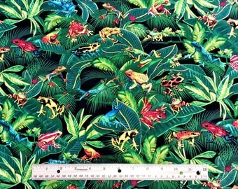 Tree Frogs by Michael Searle Timeless Treasures C1130 Green 1/2 Yards