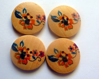 Set of 6 buttons round orange red flower 30mm 2 holes